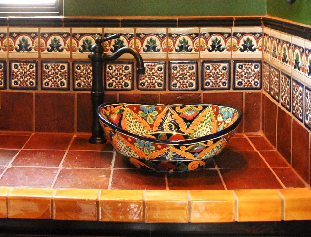 Sink In Spanish Mediterranean Bathroom Also Decorative Tile Hacienda Mexican Rustic Talavera