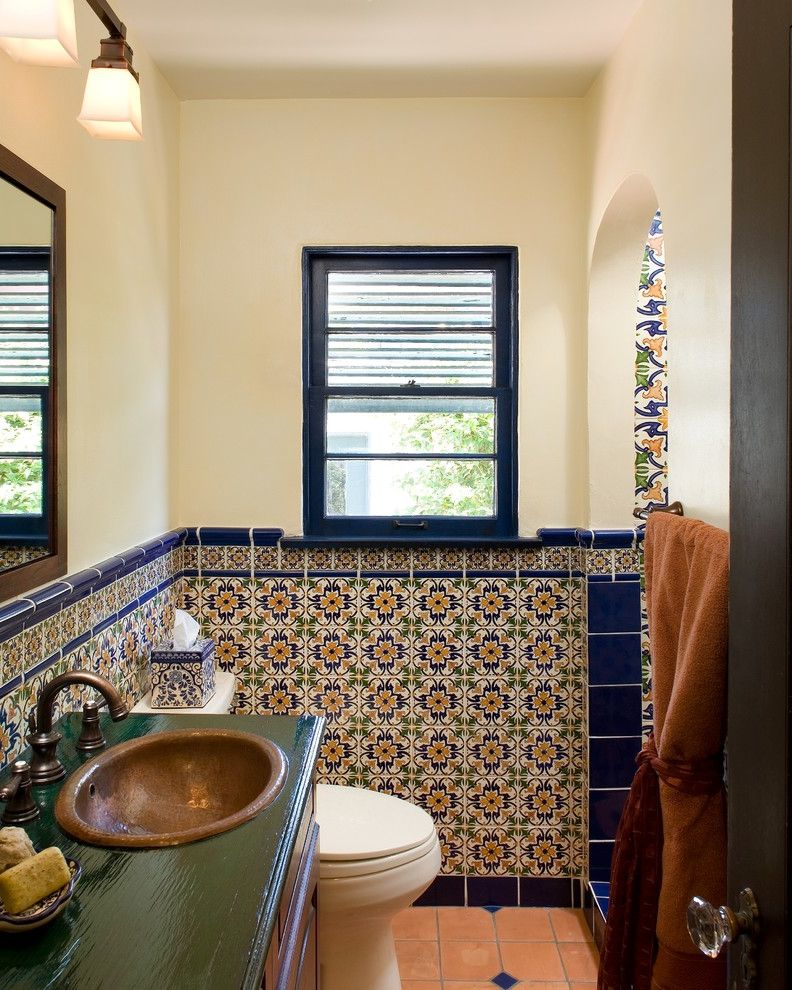 Sink in Spanish with Mediterranean Bathroom Also Archway Bathroom Tile Ceramic Tile Decorative Tile Hand Painted Tile Small Bathroom Spanish Tile Wall Mirror Wall Sconce Wall Tile Window