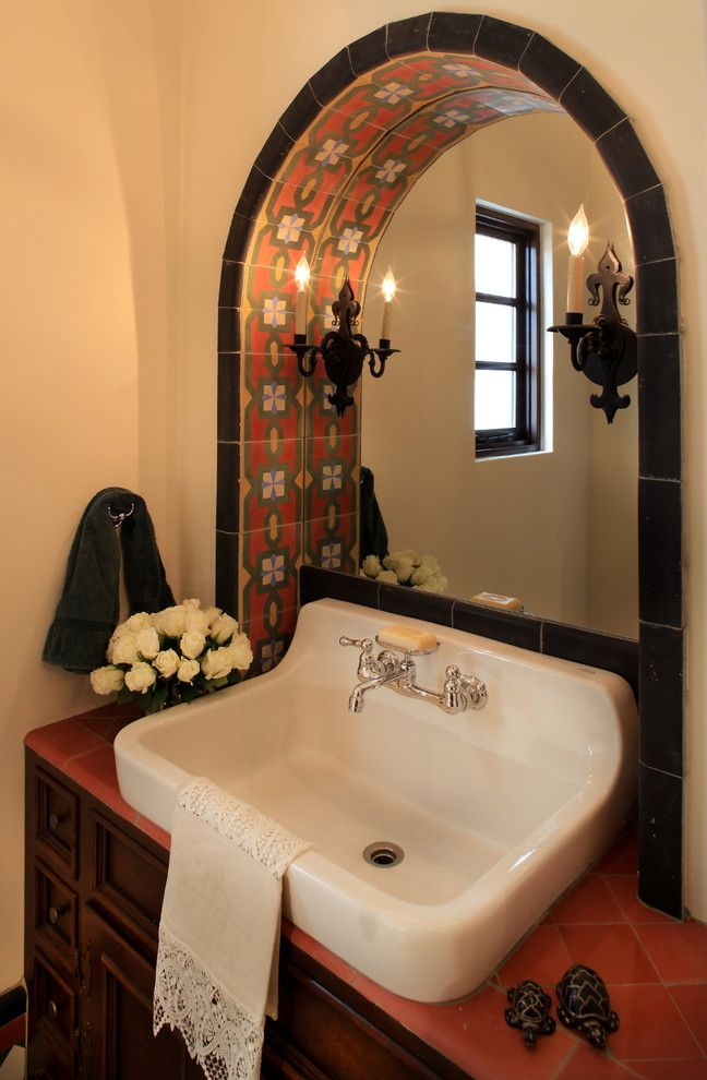 Sink in Spanish with Mediterranean Powder Room  and Antiques Colorful Tile Custom Sconces Spanish White Roses Wrought Iron