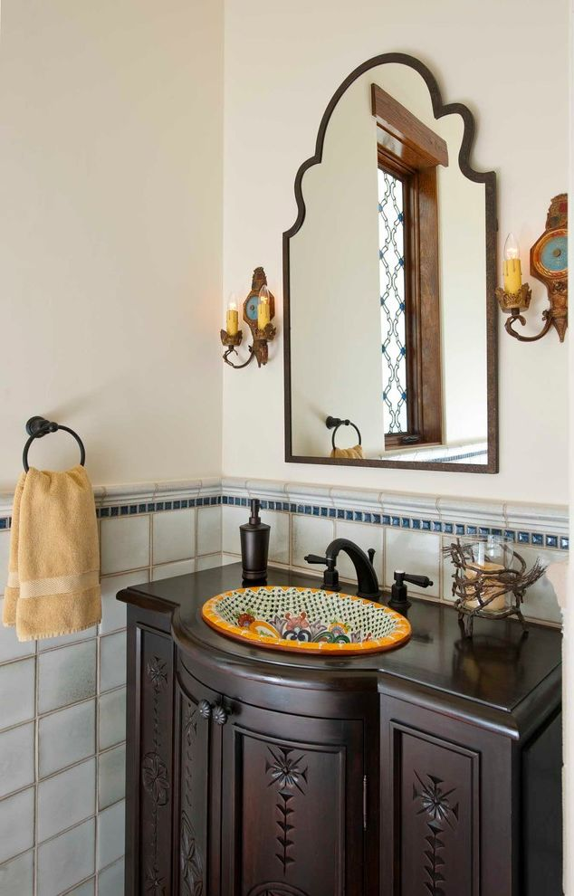 Sink in Spanish with Mediterranean Powder Room  and Old Spanish Style Painted Sink Spanish Style Spanish Tile Talavera Tile Towel Ring Wall Mirror Wall Sconces