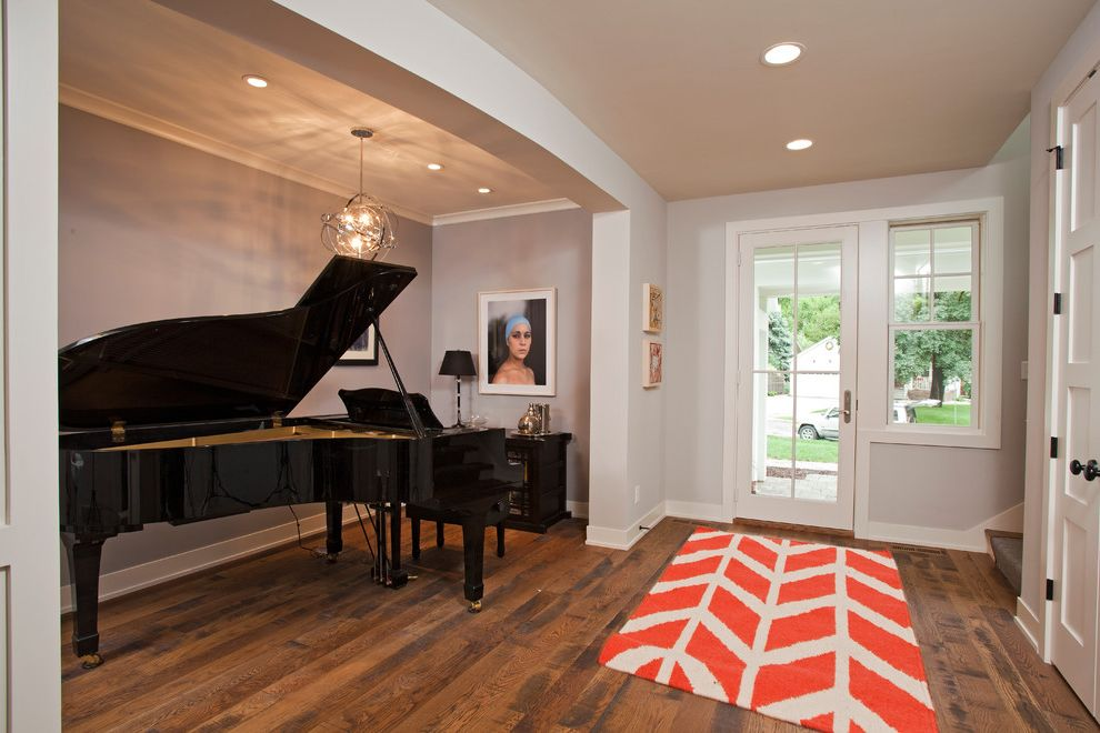 Size of Grand Piano   Contemporary Entry  and Armillary Sphere Light Fixture Baseboards Ceiling Lighting Crown Molding Five Panel Doors Glass Door Grand Piano Gray Walls Orange Rug Recessed Lighting White Trim Wood Floors