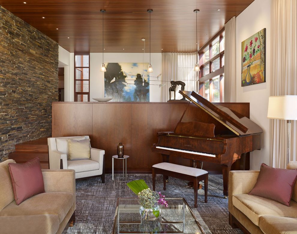 Size of Grand Piano   Modern Living Room  and Accent Wall Armchair Art Carpet Glass Table Pendant Light Piano Sofa Stone Wall Veneer Wood Ceiling