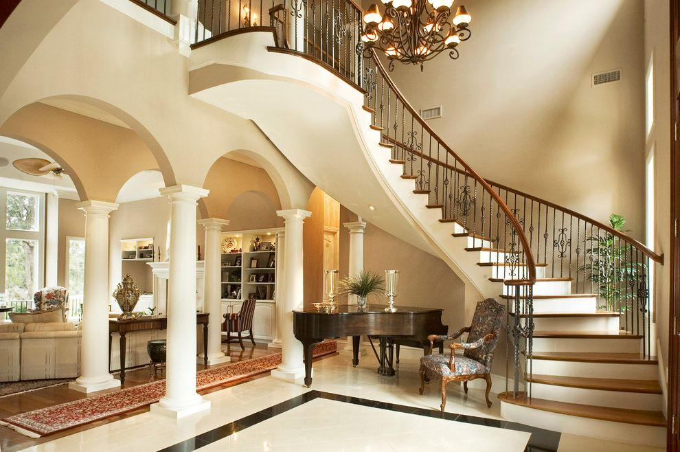 Size of Grand Piano with Contemporary Entry Also Arches Classic Columns Curved Staircase Entry Foyer Grand Piano Iron Chandelier Marble Floor Oriental Runner Traditional White Riser Wood Run Wrought Iron Spindles