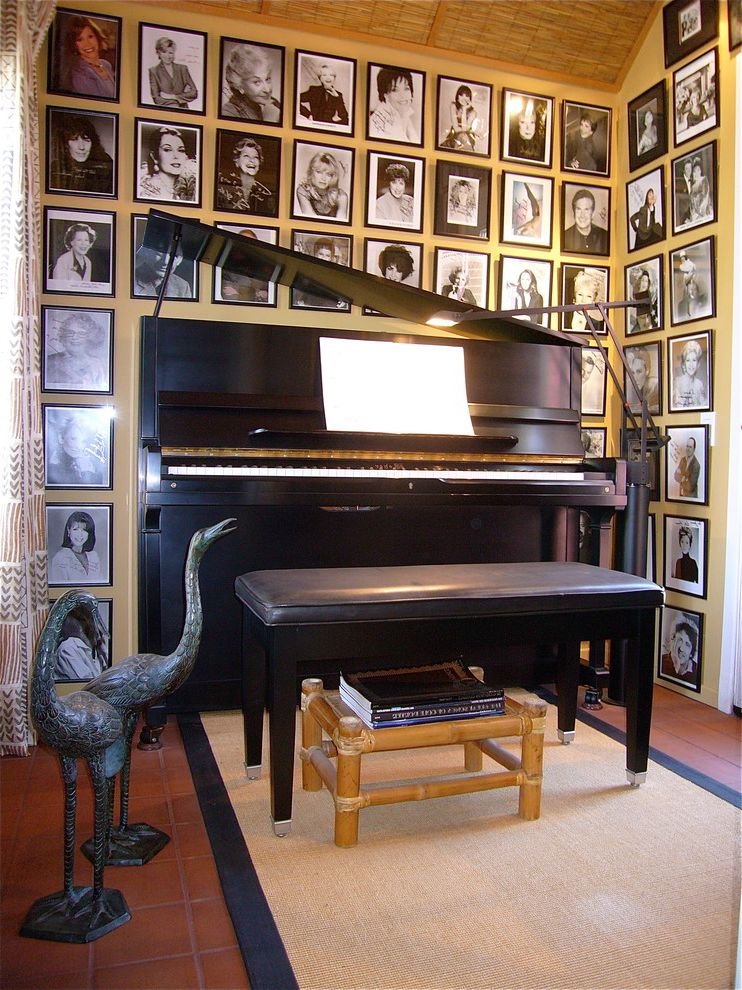 Size Of Grand Piano With Eclectic Hall And Art Display Framed Photographs Red Tile Floor Reed Ceiling Sisal Rug Tizio Lamp