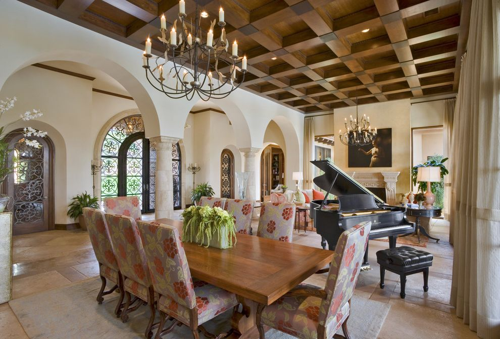 Size of Grand Piano with Mediterranean Dining Room  and Archway Ceiling Lighting Chandelier Coffered Ceiling Columns Grand Piano Great Room High Ceilings House Plants Recessed Lighting Trestle Table Upholstered Dining Chairs