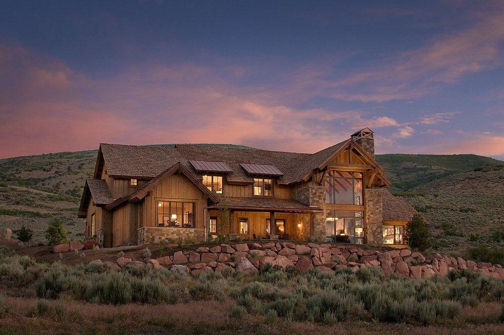 Sky Lodge Park City   Rustic Exterior  and Cabin Contemporary Dormers Lodge Metal Roof Mountain Park City Rock Wall Rural Rustic Stone Wall Utah View Wood Siding