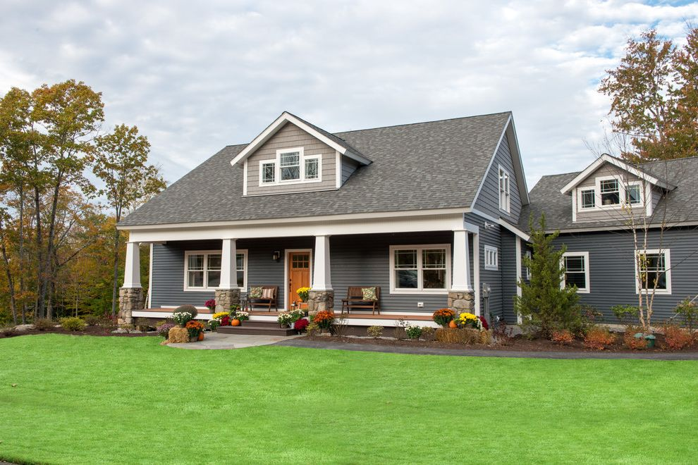 Slate Blue Vinyl Siding Craftsman Exterior And Bungalow Crasftsman Farmers Porch Gray House Stone Columns