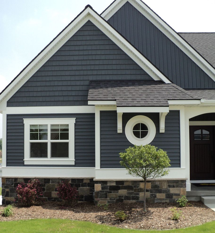 Slate blue vinyl siding traditional exterior and 49426 for Blue siding house