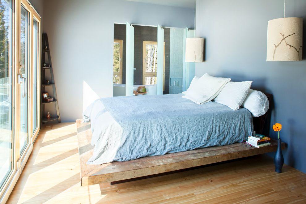 Sleep Number Bed Frame   Contemporary Bedroom  and Blue Ceiling Light Corner Shelf Floating Lights Floor to Ceiling Light Natural Light Platform Bed Wood Bed Wood Floor