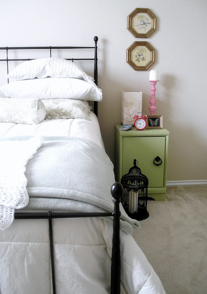 Sleep Number Bed Frame   Eclectic Bedroom Also Bed Pillows Bedding Bedside Table Bird Birdcage Candle Clock Frames Gallery Wall Iron Bed Lantern Linen Mental Bed Metal Nightstand Retro Thrifted Vintage Wall Art Wall Decor White White Bedding