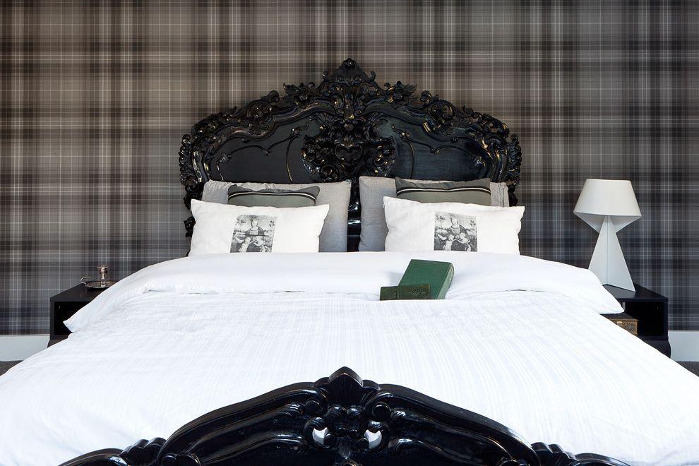 Sleep Number Bed Frame   Transitional Bedroom Also Black and Grey Bedroom Black Bed Check Wall Parer Darkwood Bedroom Furniture French Bed Ornate Woodwork Plaid Wallpaper