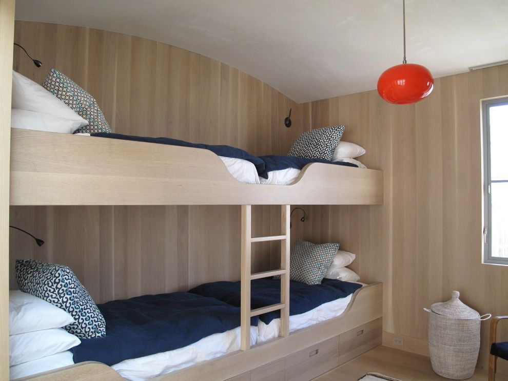Sleep Number Bed vs Tempurpedic   Contemporary Bedroom  and Arched Ceiling Buil Iin Bunk Beds Bunkbeds Natural Bed Navy Blue Red Pendant Light Under Bed Storage Drawers Wood Floor Woven Basket