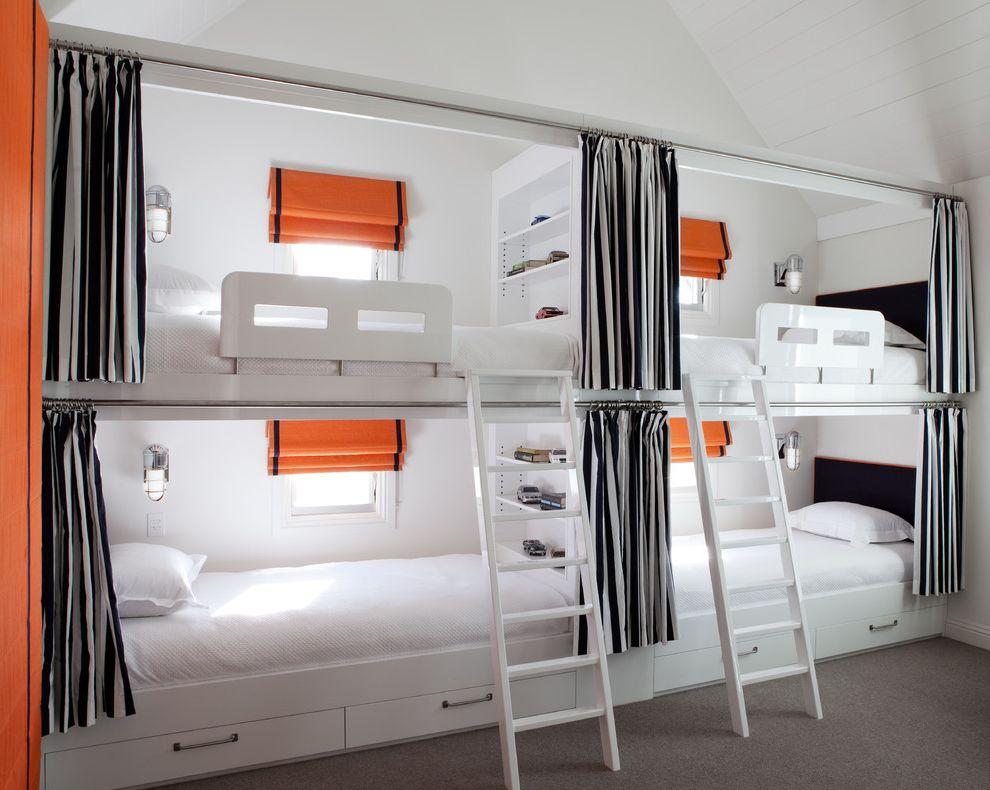 Sleep Number Bed vs Tempurpedic with Contemporary Bedroom Also Black and White Built in Shelves Bunk Beds Ladder Orange Stripes Under Bed Storage Wall Sconces Window Treatments Wool Rug
