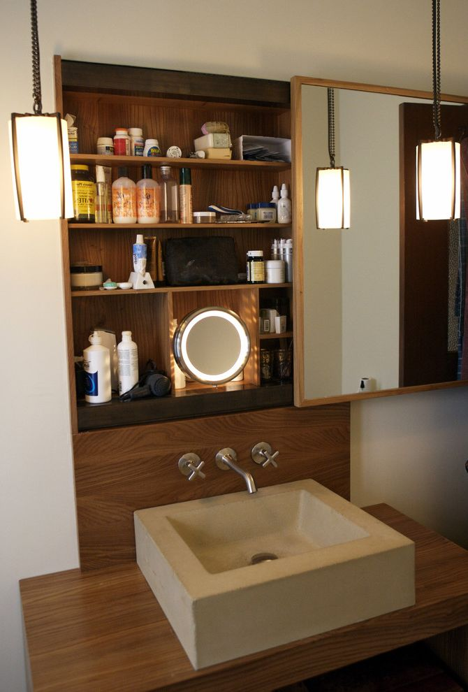 Sliding Door Medicine Cabinet   Contemporary Bathroom Also Contemporary