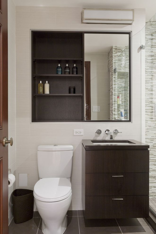 Sliding Door Medicine Cabinet   Contemporary Bathroom  and Dark Stained Wood Floating Vanity Glass Shower Enclosure Medicine Cabinet Mirror Single Sink Tile Floor Tile Wall Wall Mount Faucet Wall Sconce White Walls