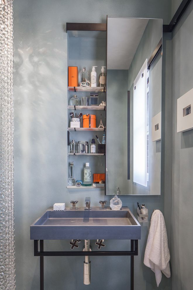 Sliding Door Medicine Cabinet   Contemporary Powder Room  and Bathroom Storage Gray Powder Room Grey Powder Room Medicine Cabinet Niche Wall Mirror