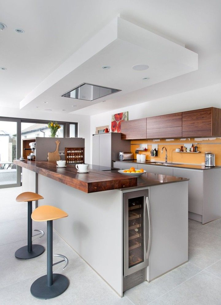 Slim Wine Fridge   Contemporary Kitchen  and Ceiling Spotlight Contemporary Kitchen Grey Island Kitchen Gadgets Kitchen Lighting Open Plan Orange Splashback Smart Storage White Kitchen Wine Cooler Wine Storage Wooden Worktop Wooden Worktops