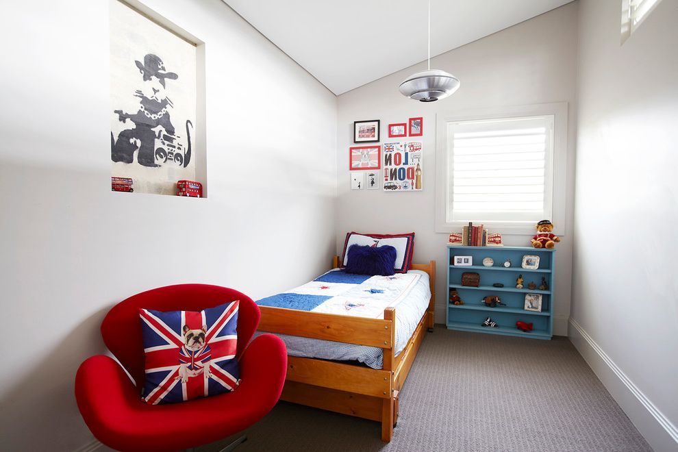 Small Armchair for Bedroom with Contemporary Kids  and 7 Year Old Boys Bedroom Bedroom Carpet Boys Bedroom Ideas Boys Bedroom Kids Bedroom Niche Pendant Light Red Armchair Single Bed Sloped Ceiling Small Bedroom Small Kids Bedroom Union Jack
