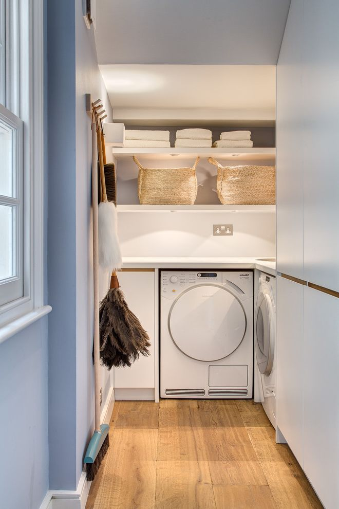 Small Broom and Dustpan   Contemporary Laundry Room  and Cleaning Room Duster Laundry Laundry Appliances Laundry Basket Laundry Room Mop Open Shelves Shelf Shelves Shelving Utility Utility Room Utility Room Appliances Utility Rooms Utility Shelves