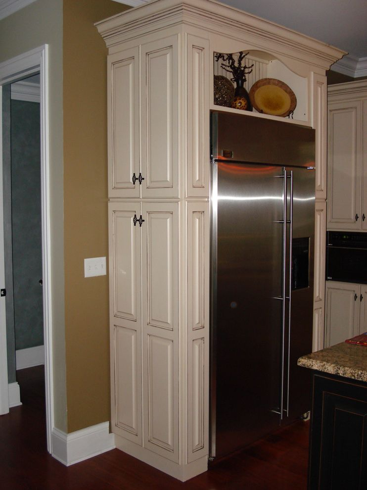 Small Broom and Dustpan   Traditional Kitchen Also Beadboard Pantry Cabinets Stainless Steel Refigerator