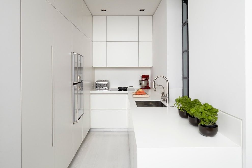 Small Dishwashers for Apartments   Modern Kitchen Also All White Angular Apartment Kitchen Basil Bridge Faucet Clean Lines Minimalist Narrow Space No Knobs Recessed Lighting Small Kitchen White White Countertop White Walls White Wood Floor