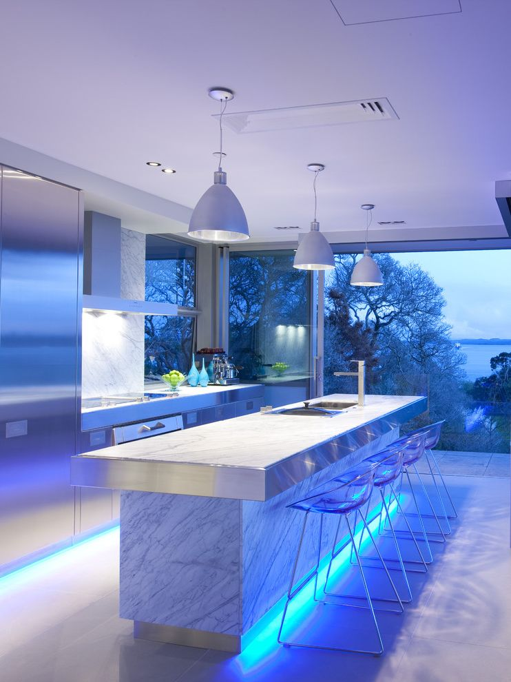 Small Flat Led Lights   Contemporary Kitchen  and Breakfast Bar Indoor Outdoor Kitchen Island Led Liighting Lucite Lucite Barstools Marble Counters Modern Barstools Modern Kitchen Pendant Lights Stainless Steel Appliances Stainless Steel Marble Waterview
