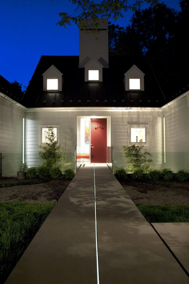 Small Flat Led Lights   Transitional Exterior  and Concrete Paving Dormer Windows Entrance Entry Front Door Garden Lighting Glass Railing Grass Handrail House Numbers Lawn Outdoor Lighting Path Red Door Turf Walkway Wood Siding