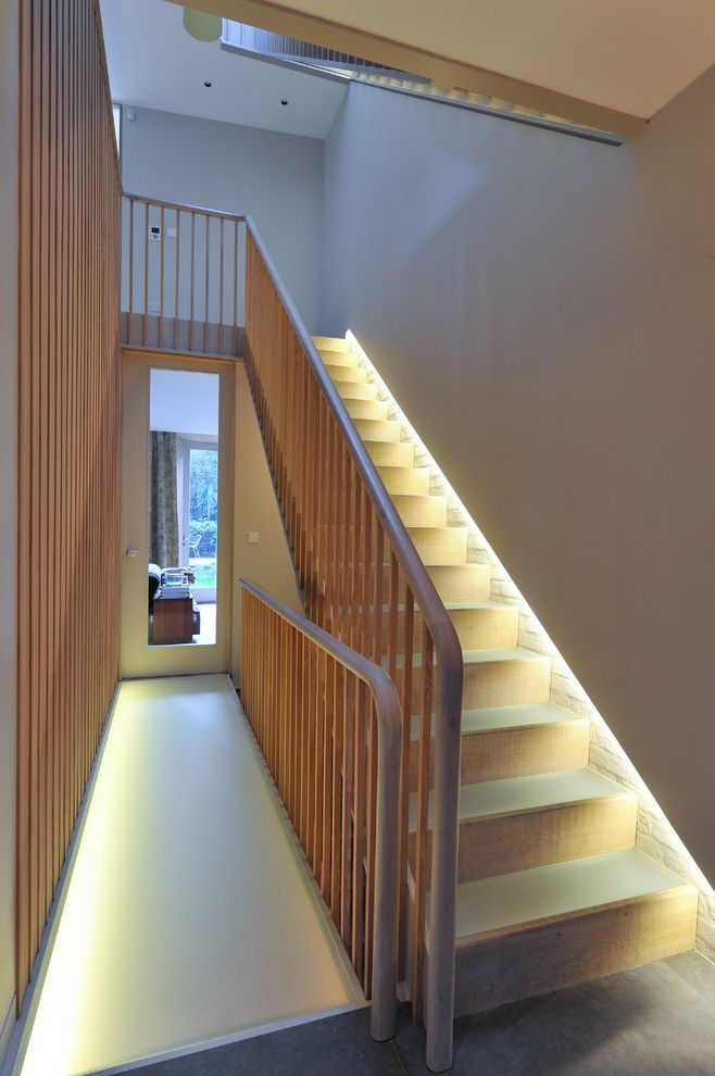 Small Flat Led Lights with Transitional Staircase Also Award Banister Hallway Landing Passageway Riba Stair Railing Staircase Staircase Lighting Wooden Banister