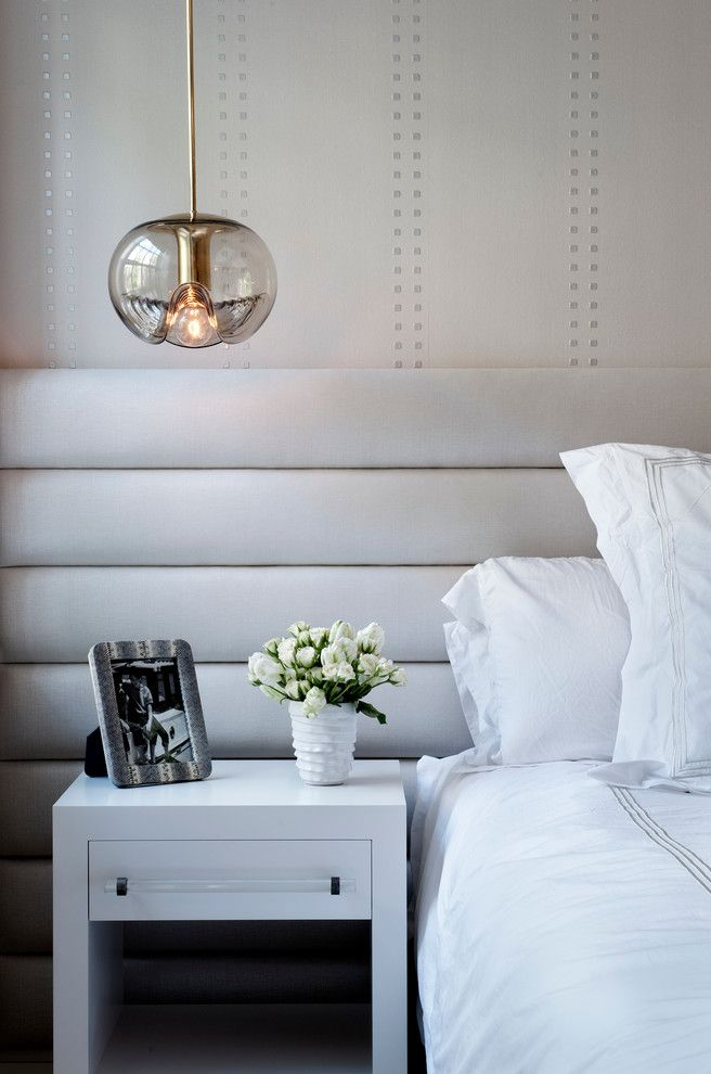 Small Lantern Pendant Light   Contemporary Bedroom  and Bedding Flowers Neutral Night Stand Pendant Light Townhouse Vase