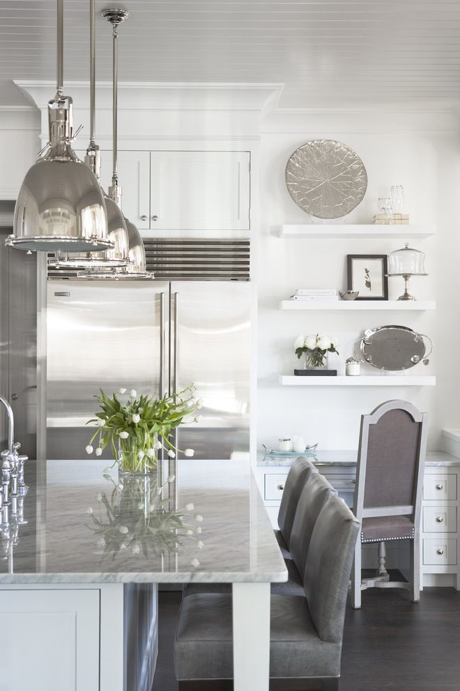 Small Lantern Pendant Light with Traditional Kitchen  and Appliance Contemporary Counter Floating Shelves Gray Gray Leather Island Kitchen Kitchen Island Lighting Marble Nantucket Pendant Pendant Lights Shelving Subzero White