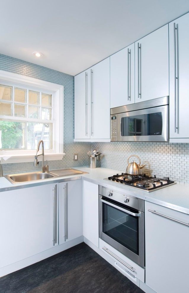 Small Over the Range Microwave   Contemporary Kitchen Also Blue Backsplash Tile Built in Range Kitchen Window Metallic Tile Backsplash Microwave Above Range Pullout Faucet Small Kitchen Ideas Small Oven Small Range Stainless Sink with Drainboard
