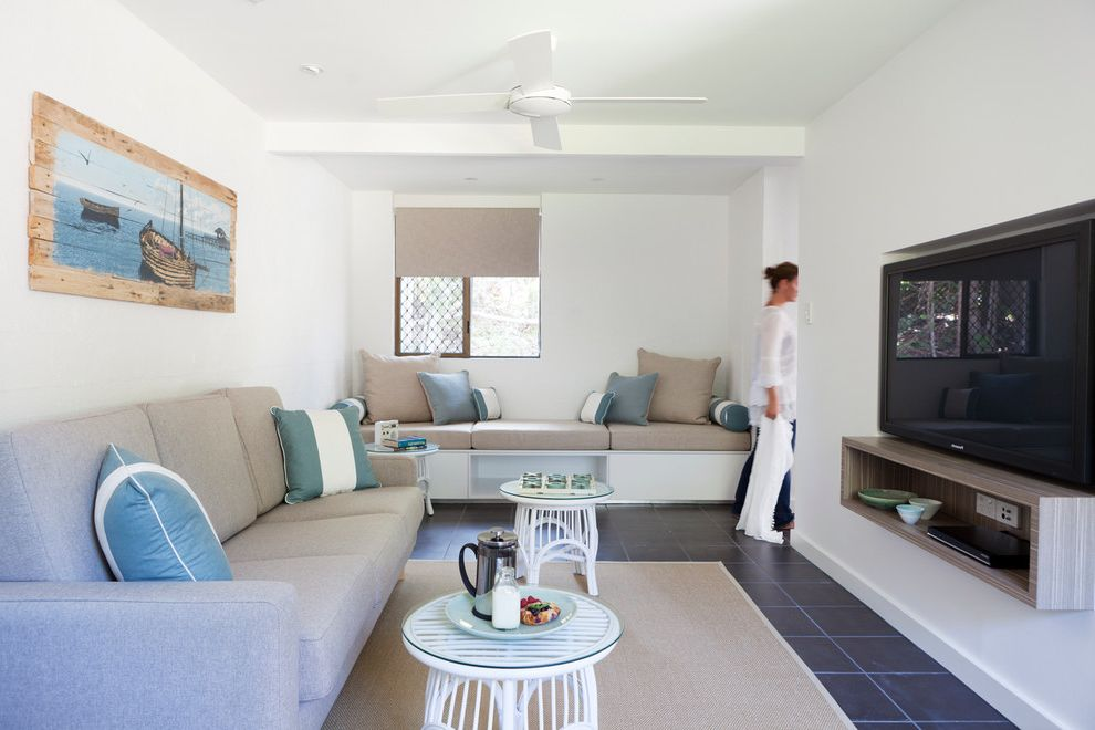 Small Tv Console   Beach Style Living Room Also Black Floor Tile Built in Bench Ceiling Fan Floating Cabinet Gray Cushions