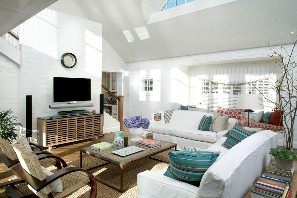Small Tv Console   Beach Style Living Room Also Branches Cable Railing Coastal Eyebrow Window Natural Fiber Rug Plasma Reclaimed Coffee Table Shabby Chic Sofa Sofa Table Tongue and Groove Turquoise Pillow Tv Console Window Seat