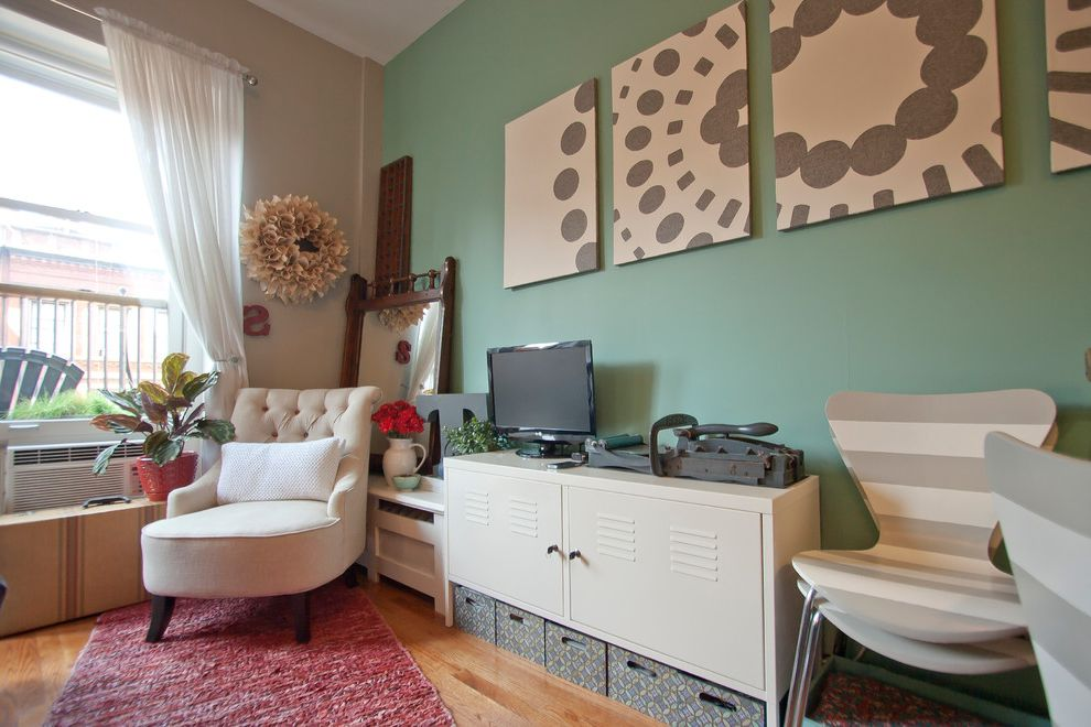 Small Tv Console with Contemporary Living Room Also Beige Wall Graphic Art Green Wall Living Room Storage Sheer Curtain Striped Dining Chair White Armchair White Curtain White Locker Console White Media Console White Metal Console Wood Floor Wreath