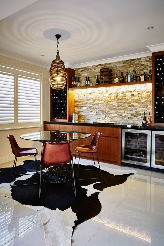 Small Wine Refrigerator   Contemporary Home Bar Also Animal Skin Rug Beer Wine Fridges Contemporary Man Cave Elegant Man Cave Paving Pendant Lighting Sandstone Shaker Style Sharknose Drawers Sophisticated Stones Walling White Floors Wine Racks