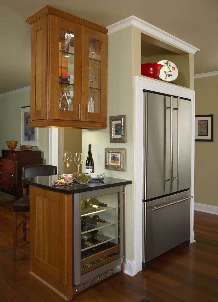 Small Wine Refrigerator   Contemporary Kitchen  and Baker Furniture Cherry Counter Family Room Granite Kitchen Renovation Room Divider Stainless Steel Walnut Wine Chiller Work Station