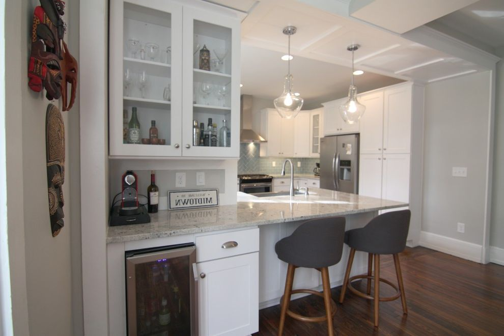 Small Wine Refrigerator   Craftsman Kitchen Also Backsplash Glass Tile Condo Condominium Glass Tiles Historic Preservation Kitchen Remodeling Remodel Restoration Rustic Wood Floor White Kitchen Window Hardware Window Restoration Wood Floors