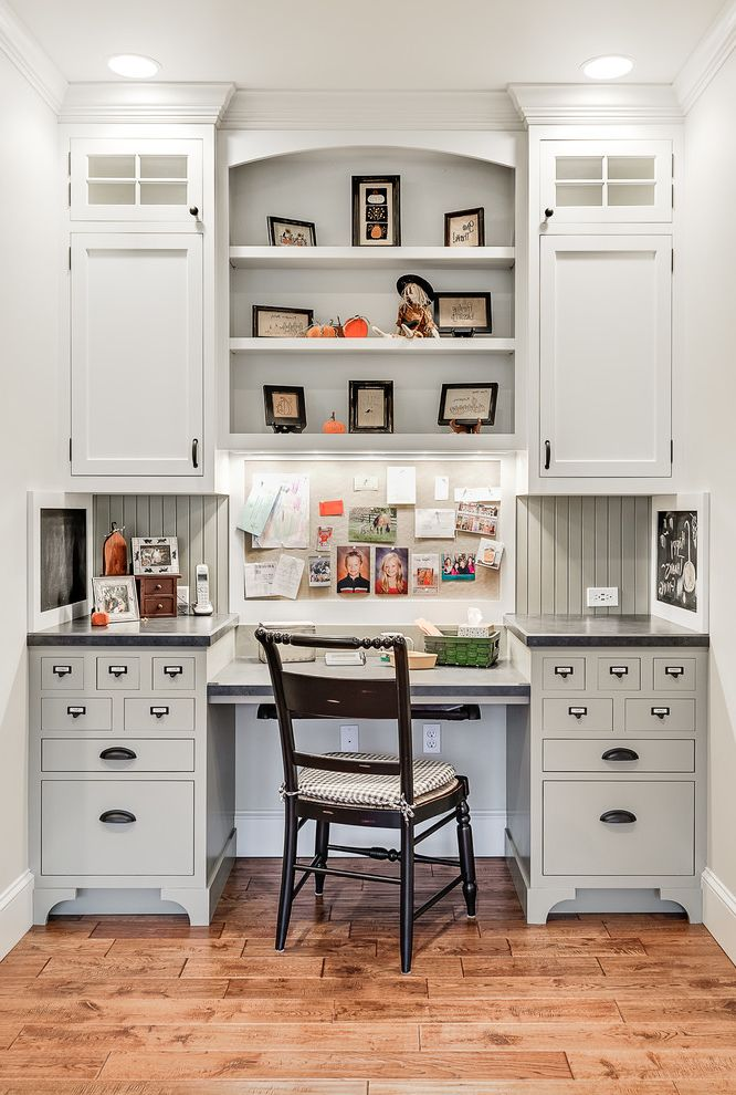 Small Writing Desk with Drawers   Traditional Home Office  and Beadboard Black Chair Black Countertop Bulletin Board Clerestory Cabinets Small Drawers