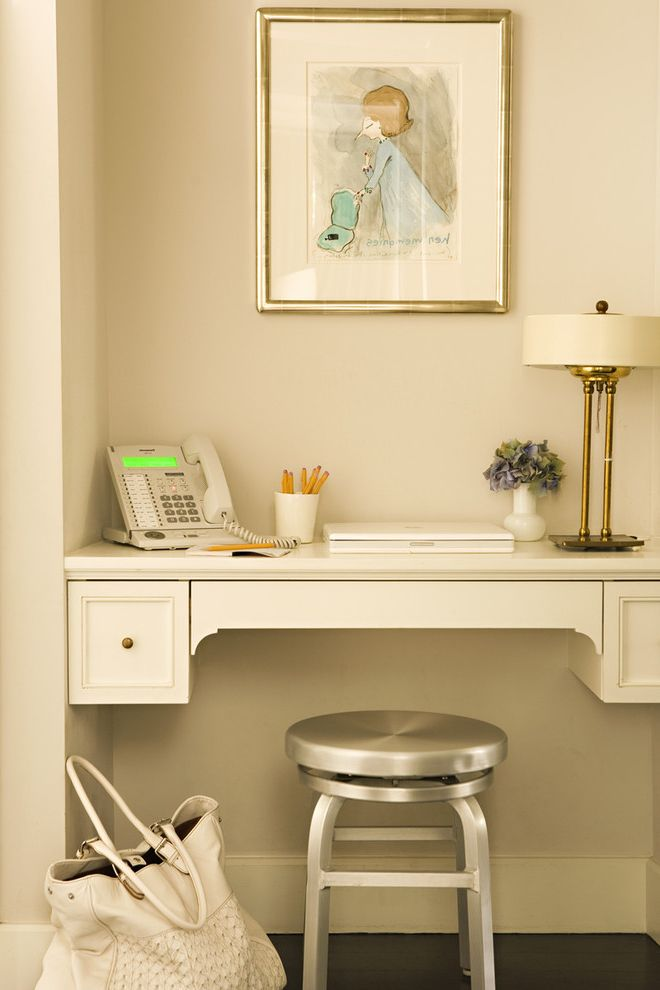 Small Writing Desk with Drawers   Transitional Home Office Also Built in Desk Land Line Metal Stool Phone