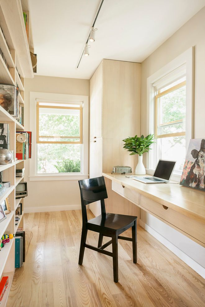 Small Writing Desk with Drawers with Contemporary Home Office Also Bookshelves Built in Desk Desk Double Hung Windows Drawers Home Office Ledge Natural Wood Floors Track Lights White Casing