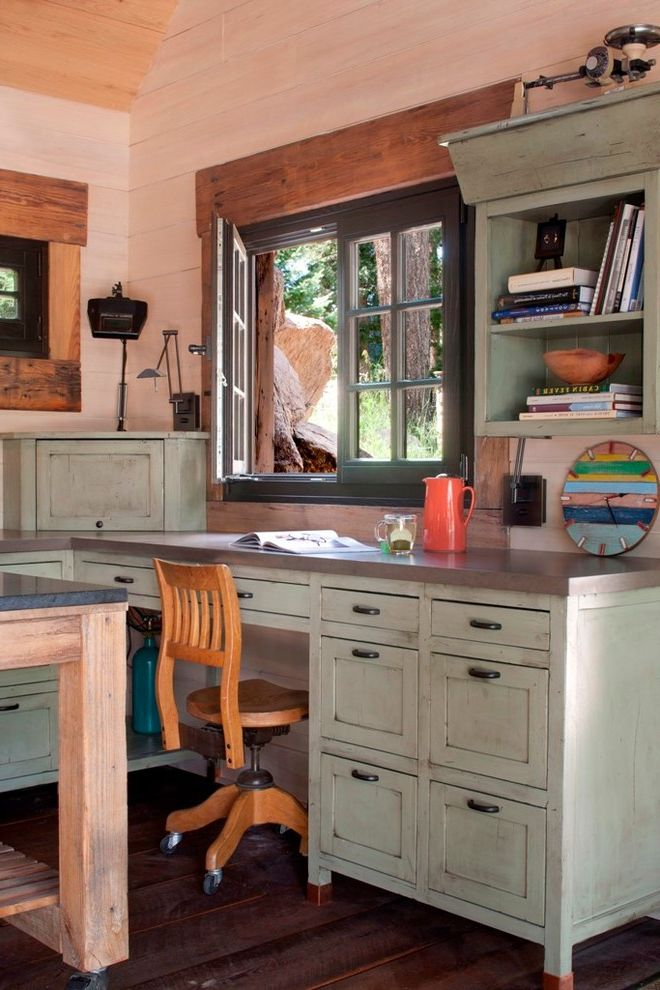 Small Writing Desk with Drawers with Shabby Chic Style Home Office  and Bookshelves Built in Desk Casement Window Dark Hardware Desk Drawers Distressed Finish Green Cabinets Rolling Chair Wood Chair Wood Paneling