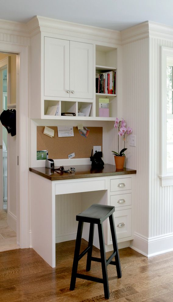 Small Writing Desk with Drawers with Traditional Home Office Also Beadboard Black Stool Brown Countertop Bulletin Board Crown Molding Open Shelves Traditional