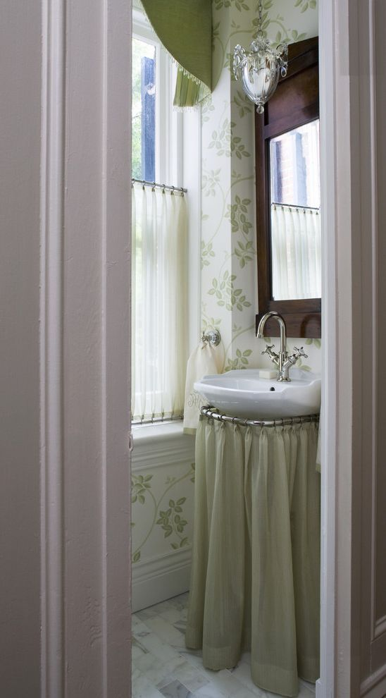 Smart Systems Pro   Traditional Powder Room Also Baseboards Bathroom Mirror Green Bathroom Green Wallpaper Skirted Sink Small Bathroom Stone Floors Window Sheers Wood Trim