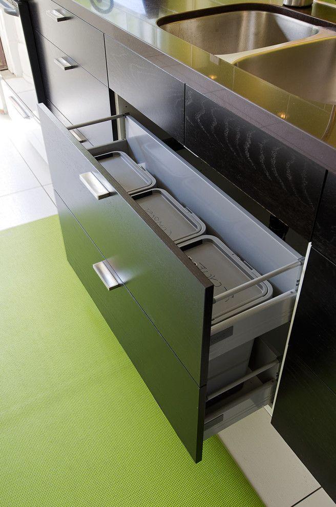 Smelly Garbage Disposal   Contemporary Kitchen Also Dark Lower Cabinets Green Kitchen Trash Cans Modern Storage Under Sink Trash Recycling White
