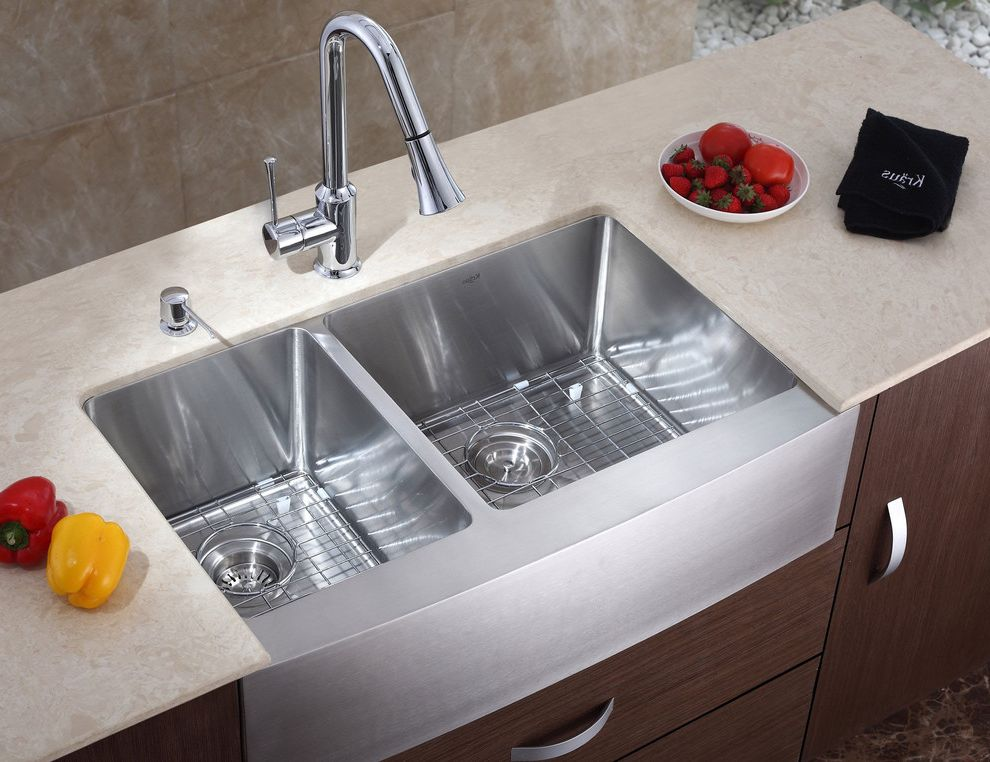Smelly Garbage Disposal with Modern Kitchen  and Apron Chrome Combo Despenser Farm Faucet Front Idea Kitchen Kraus Modern New York Set Soap Stainless Steel