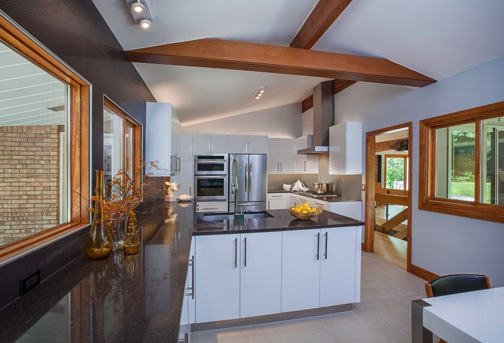 Smi Homes   Contemporary Kitchen Also Custom Cabinetry Rustic Wooden Beams White Contemporary Cabinets