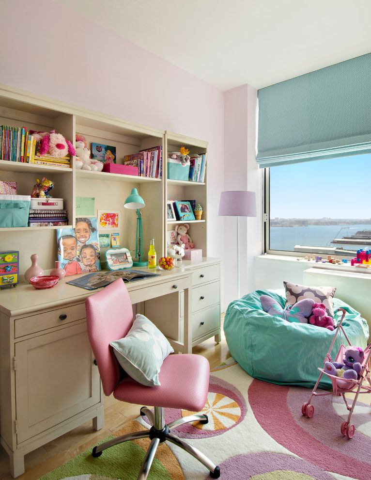 Smi Homes with Traditional Kids  and Blue Beanbag Blue Blinds Blue Table Lamp Colorful Area Rug Pink Desk Chair Waterfront