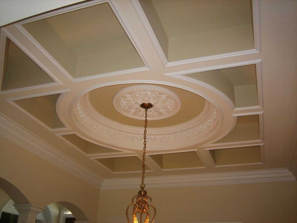 Smith and Deshields   Traditional Living Room  and Boca Raton Ceiling Medallion Ceiling Moldings Ceiling Recess Circular Chandelier Construction Crown Molding Custom Home Dining Room Florida Recessed Boxes Robelen Robelen Hanna Homes Robert Hanna