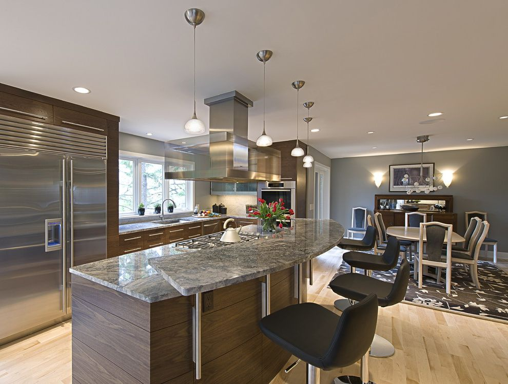Smoky Mountain Granite   Contemporary Kitchen  and Area Rug Center Island Counter Stools Dining Table Flush Cabinets Gray Wall Hood Marble Miele Pendant Lights Stainless Steel Venthood Wall Sconce Walnut Wood Floor