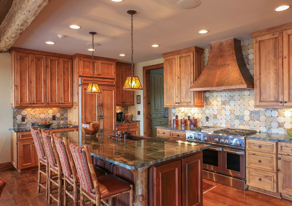 Smoky Mountain Granite   Rustic Kitchen  and Copper Farm Sink Copper Range Hood Counter Stools Granite Knotty Alder Mountain Home Mountain House Old Hickory Pendant Lighting Range Slate Backsplash